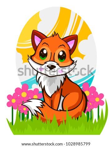 beautiful cute fox in the grass