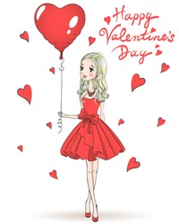 Beautiful, cute, romantic girl in love in a red dress with a balloon heart in the background with the words Happy Valentine's day. Vector illustration.