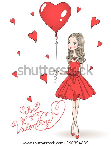 Beautiful, cute, romantic girl in love in a red dress with a balloon heart in the background with the words Be my Valentine. Vector illustration.