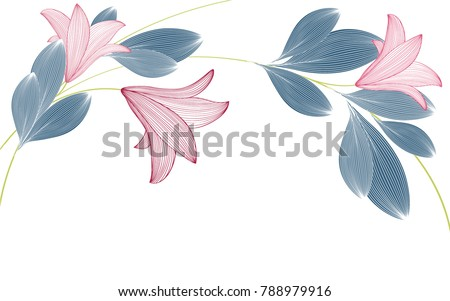 Beautiful cute spring background with lily flowers.