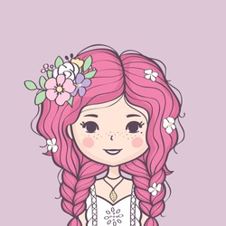Beautiful cute summer girl with flower in her hair. Fashion girl with braids and flowers. Vector illustration