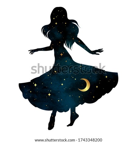 Beautiful dancing gypsy silhouette with crescent moon and stars isolated. Boho chic tattoo, sticker or print design vector illustration Foto d'archivio ©
