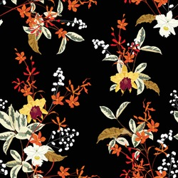 Beautiful dark blooming gentle garden orchid flowers and many kind of floral seamless pattern vector,Design for fashion , fabric, textile, wallpaper, cover, web , wrapping and all prints on black.