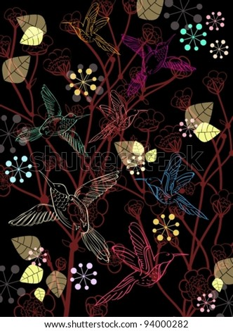 Beautiful dark floral background with birds, vector illustration