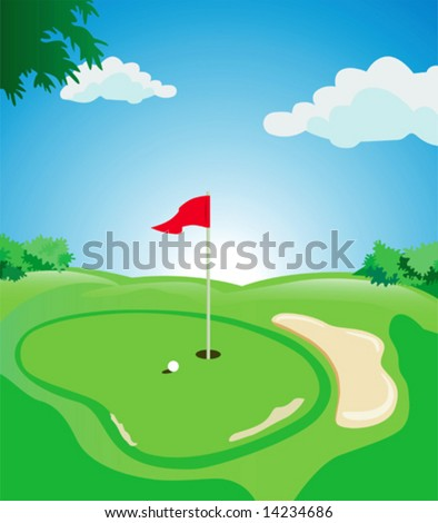 Beautiful day at the tee - stock vector
