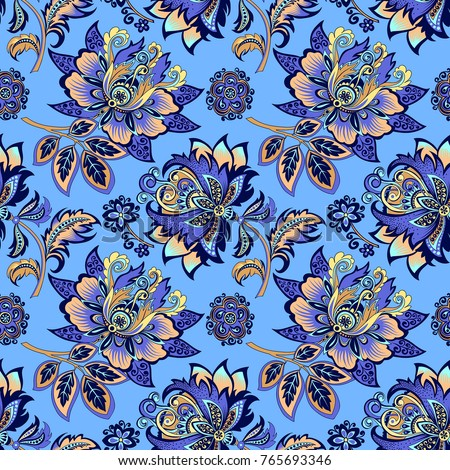 beautiful decorative seamless floral ornament with gold flowers on a blue background for design, colorful pattern with stylized abstract flowers in retro style for decoration