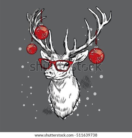 9653f904504 Beautiful deer with Christmas balls on the glasses. Vector illustration.