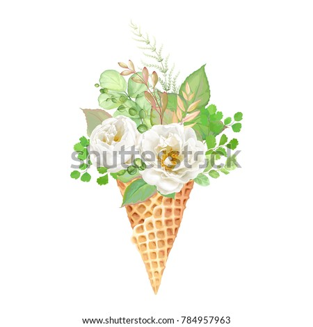 Stock Photo Beautiful delicate bouquet of white roses and green leaves in waffle cone ice cream, vector floral illustration.