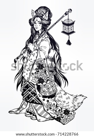 beautiful demon kitsune as