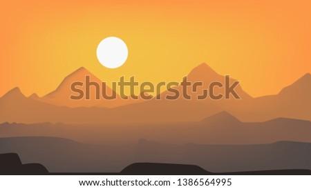 A beautiful desert view Vector - Download Free Vector Art