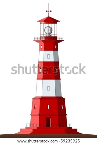 Beautiful detailed lighthouse isolated on white - vector - stock vector