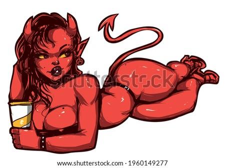 beautiful devil girl in black swimsuit resting smiling Stock photo ©