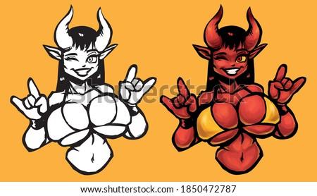 beautiful devil girl smiles in yellow bikini and shows horns Stock photo ©