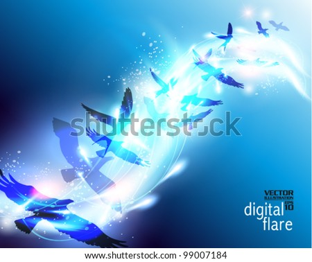 beautiful digital birds flying