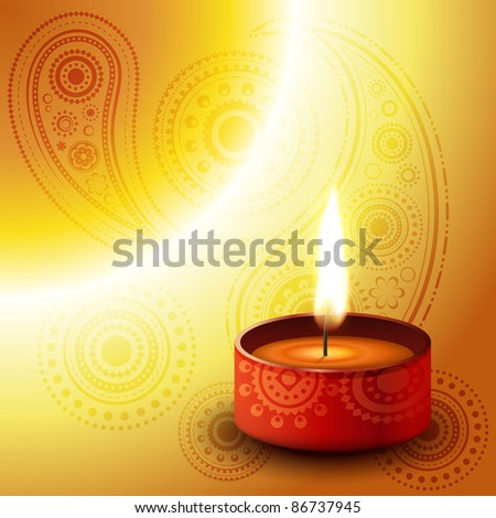 beautiful diwali diya on golden background