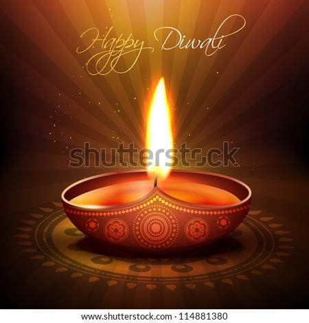 beautiful diwali diya vector background