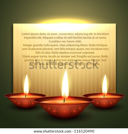 beautiful diwali diya vector background with space for your text