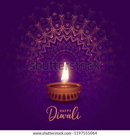beautiful diwali festival diya on mandala background