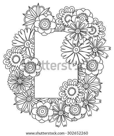 Beautiful Doodle Art Flowers Zentangle Floral Pattern Hand Drawn Herbal Design Elements Black