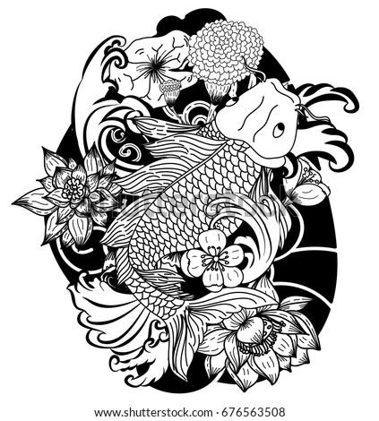 stock-vector-beautiful-doodle-art-koi-carp-tattoo-design-black-and-white-koi-fish-and-flower