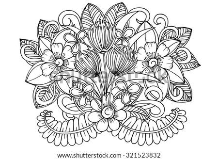 beautiful doodle flowers