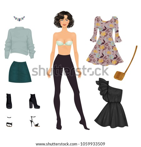 beautiful dress up female paper