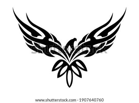 Beautiful eagle tattoo element. Eagle or hawk vector illustration. Stretched wings of an eagle.