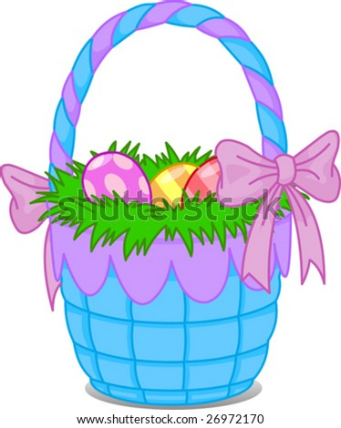 Beautiful Easter basket with eggs