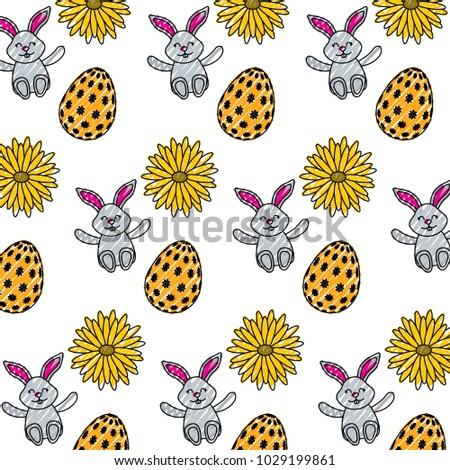 beautiful easter egg rabbit flower daisy decoration pattern