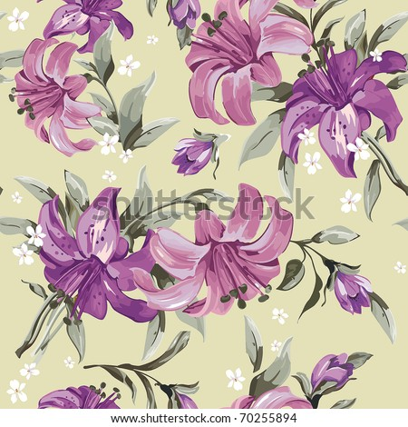 Beautiful eastern pattern with blooming lilies with on Green background, vector illustration