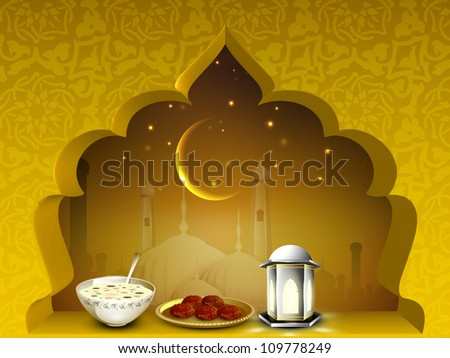 Beautiful EId Mubarak background with moon, sweets and lantern or lamp. EPS 10.