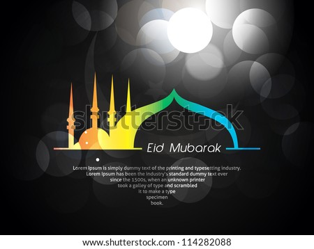 Beautiful Eid Mubarak Card Design with Nice, colorful Mosque and Black Background, Eps 10