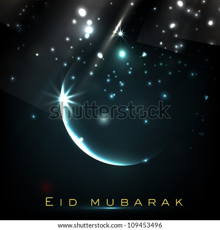 Beautiful Eid Mubarak greeting card with shiny Moon and stars. EPS 10.