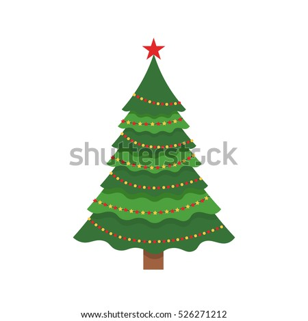 Beautiful elegant green Christmas tree. Bright garland. Vector illustration on a white background. Modern flat design. #526271212