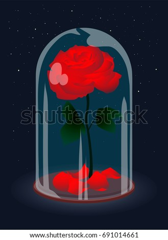 Beautiful elegant red rose under glass. Red bud and green leaves. Rose petals on the stand. Glass dome. Perfect gift for Valentine's Day.