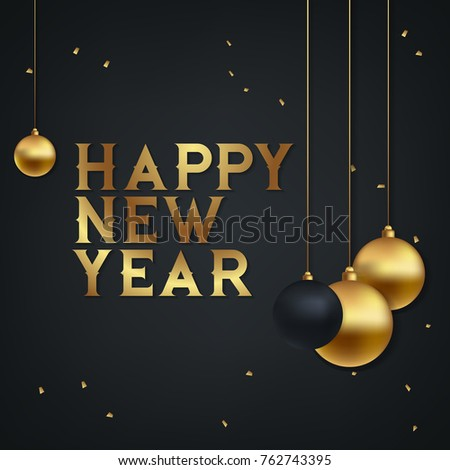Beautiful elegant text design of happy new year