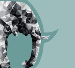 beautiful elephant abstract geometric polygon vector