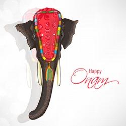 Beautiful elephant on shiny grey background for South Indian festival, Happy Onam celebration.