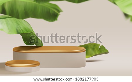 Beautiful empty gold podium with realistic banana leaves. summer theme, fashion, cosmetic product display presentation mockup vector template Photo stock ©
