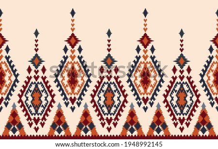 Beautiful Ethnic abstract ikat art. Seamless pattern in tribal, folk embroidery, and Mexican style.Aztec geometric art ornament print.Design for carpet, wallpaper, clothing, wrapping, fabric, cover