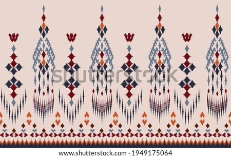 Beautiful Ethnic abstract ikat art. Seamless pattern in tribal, folk embroidery, and Mexican style.Aztec geometric art ornament print.Design for carpet, wallpaper, clothing, wrapping,fabric,cover,
