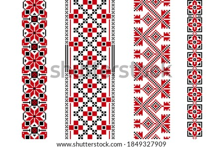 Beautiful ethnic ornament for embroidery. Ukrainian set of patterns for cross stitching. Pixel factory boho pattern for decorating clothes, bags, accessories. Traditional seamless geometric pattern. Foto d'archivio ©