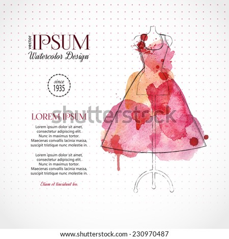 Beautiful evening or cocktail dress on mannequin. Watercolor fashion background. Vector illustration.