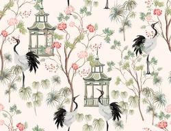 Beautiful exotic chinoiserie seamless pattern. Hand drawn vintage chinese rose trees, sakura, palms, flowers, pavilion, lemon trees. Floral seamless border pink background.