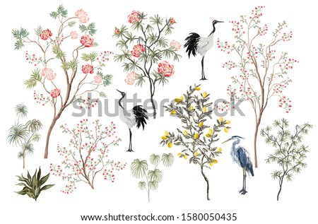 Beautiful exotic chinoiserie set. Hand drawn vintage chinese rose trees, palms, peone flowers, sakura tree, crane bird, heron