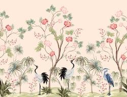 Beautiful exotic chinoiserie wallpaper. Hand drawn vintage chinese rose trees, palms, sakura flowers, peonies, crane bird, heron, pheasant. Floral seamless border pink background.