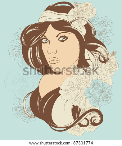 Beautiful exotic woman with long hair and flowers