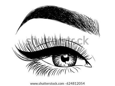 beautiful eye with eyeliner and false lashes