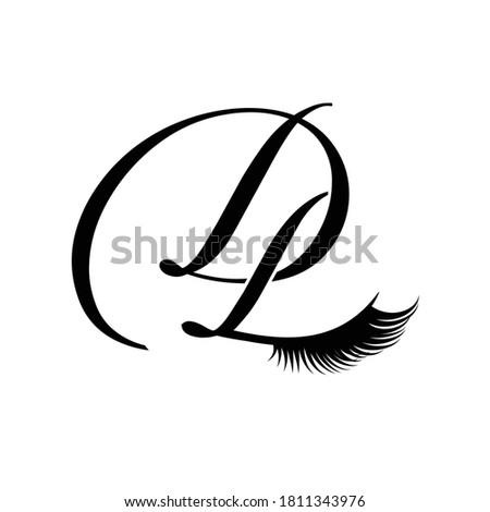 beautiful eyelashes D L  logo monogram  Stock fotó ©