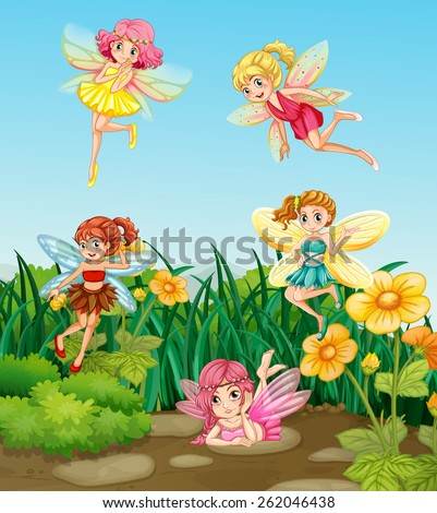 beautiful fairies flying in the